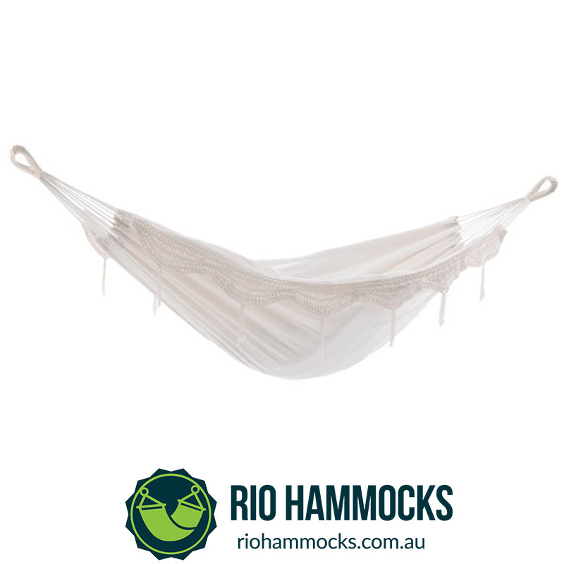 Brazilian Style Hammock - Double (Natural with Fringe)