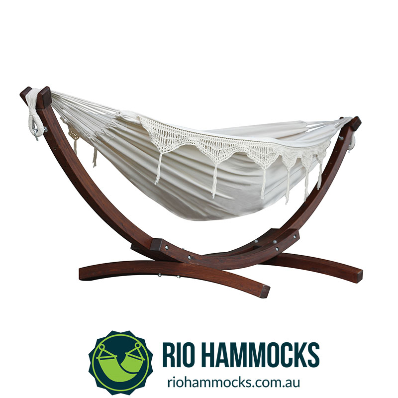 Double Cotton Hammock with Solid Pine Arc Stand - Natural