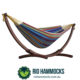 Double Cotton Hammock with Solid Pine Arc Stand – Tropical