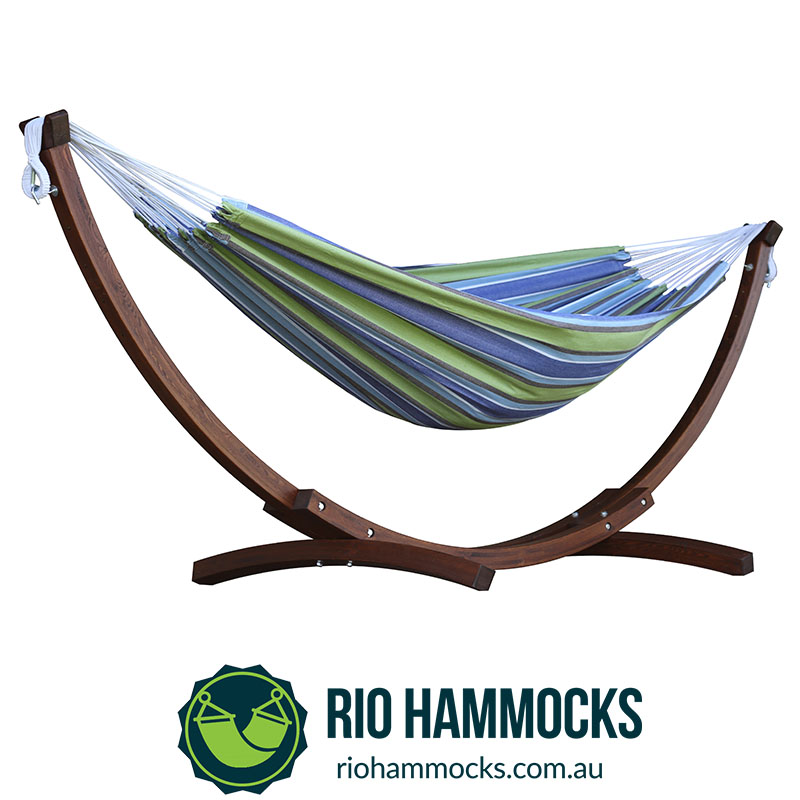 Double Cotton Hammock with Solid Pine Arc Stand – Oasis