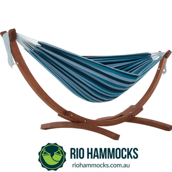 Double Cotton Hammock with Solid Pine Arc Stand - Blue Lagoon