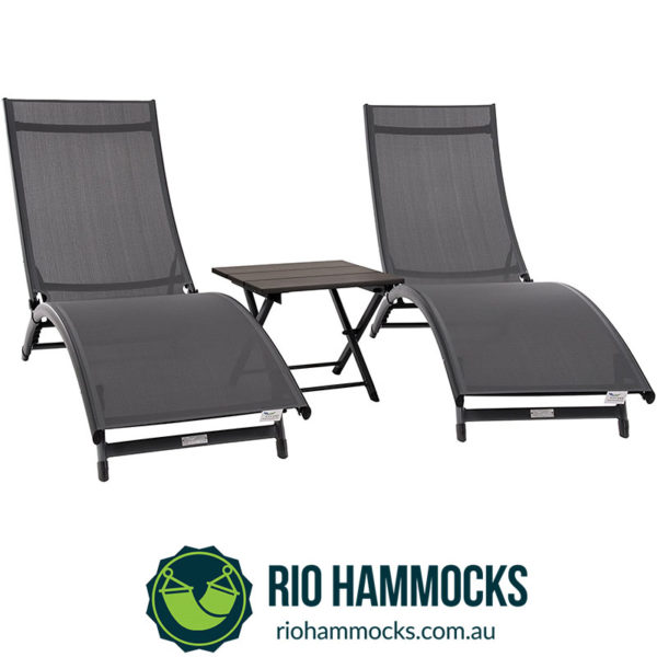 Coral Springs Lounger 3 Pc Set - Aluminum - Grey on Matte Black