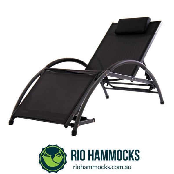 Dockside Sun Lounger - Aluminum (Charcoal frame, Black Sling)