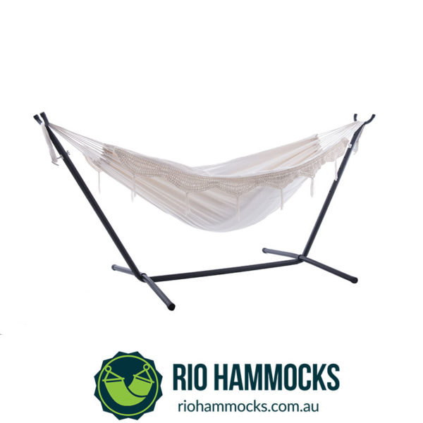 Vivere's Combo - Double Deluxe Natural with Fringe Hammock with Stand (250cm)