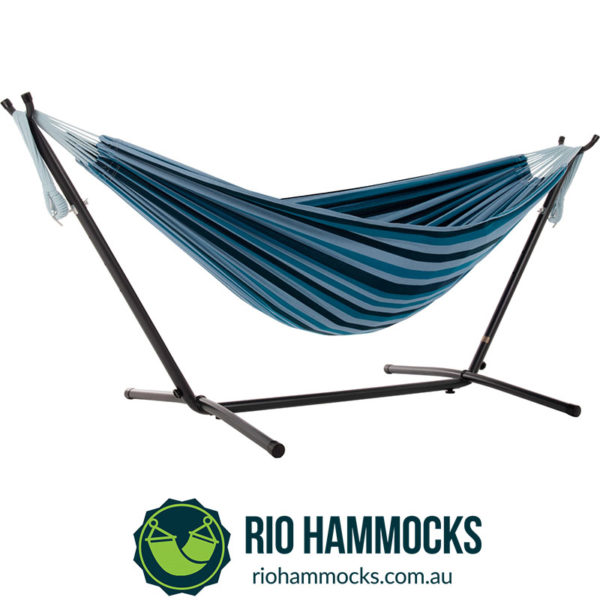 Vivere's Combo - Double Blue Lagoon Hammock with Stand (250cm)